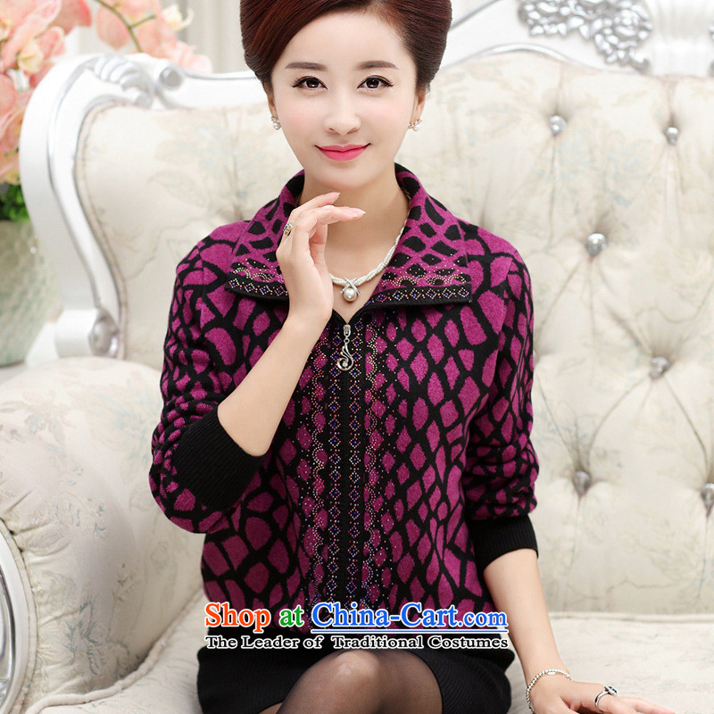 The Secretary for Health related shop _ autumn and winter in the new Elderly Women Fleece Jacket Mother of older persons with LADIES CARDIGAN cashmere sweater large red replace grandma聽XL