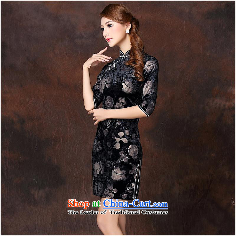 2015 Autumn and winter new women's Stylish retro seven stamp scouring pads short-sleeved qipao QF141003  XXXXL color picture