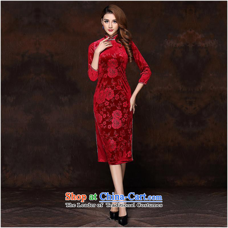 2015 Autumn and winter new women's Stylish retro-7 cuff scouring pads long爎ed燲XXL QF141008 Cheongsam