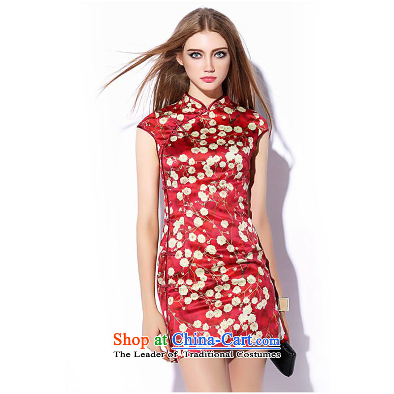 The autumn 2015 new stamp qipao Sau San qipao retro skirt red short qipao LF20150705 SUIT�S