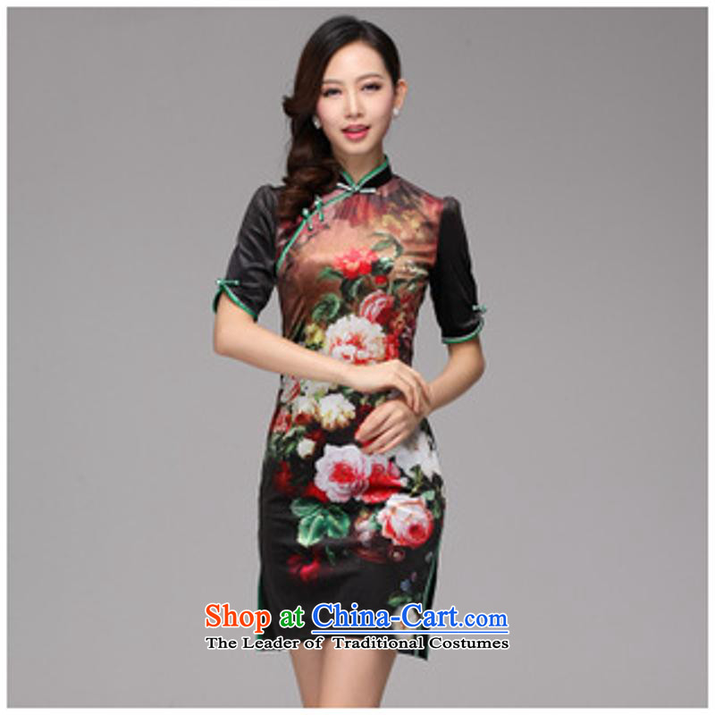 2013 Autumn and winter new stamp improved retro style, short-sleeved qipao Shenzhen picture color_ XL