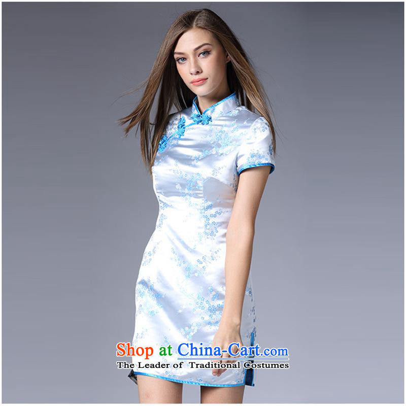 The autumn 2015 new stamp qipao Sau San qipao retro Skirt Power's short qipao LF20150882 BLUE�L