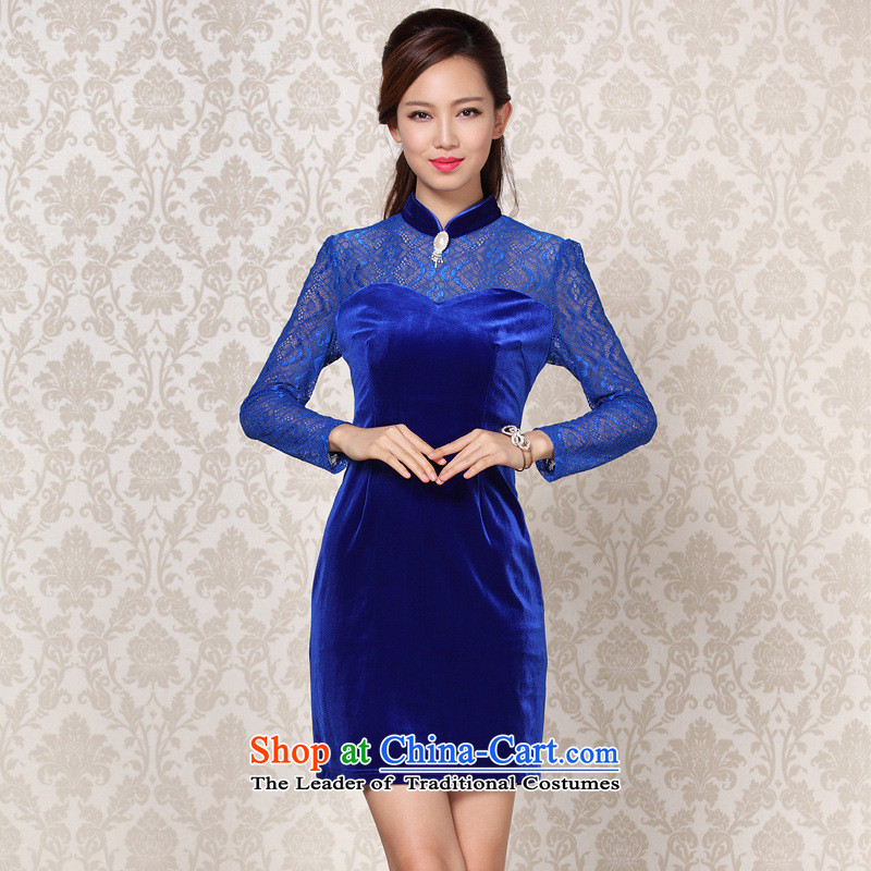 2015 Autumn and winter stylish and simple lace long-sleeved wool stitching qipao precious stones, daily?XXL
