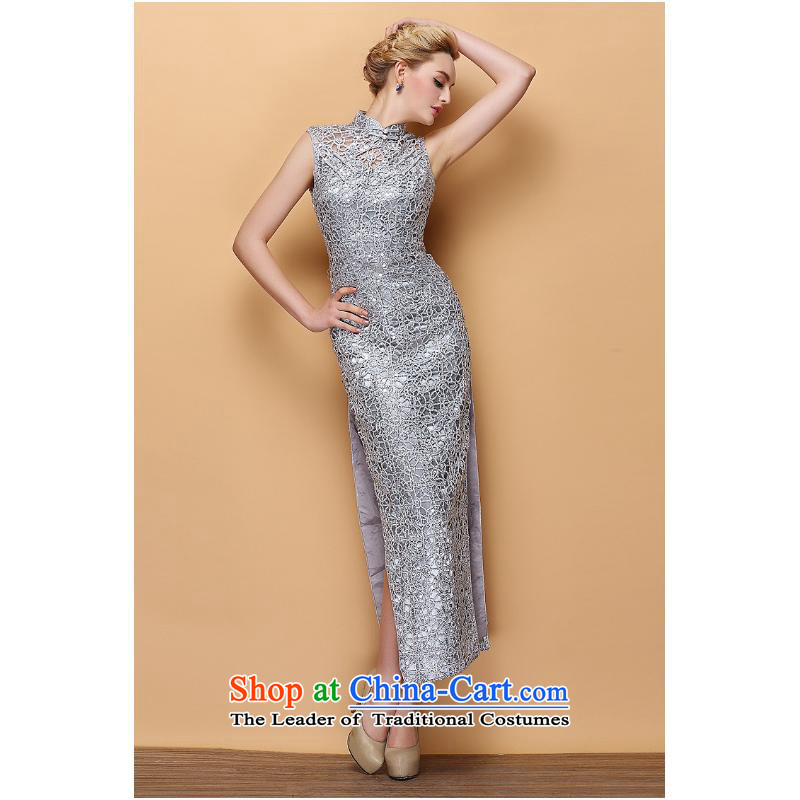 2015 new stylish collar dress engraving on-chip banquet long qipao Sau San silver�M