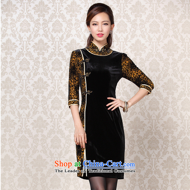 2015 Autumn and Winter New Stylish retro scouring pads in the stitching short-sleeved qipao picture color燬