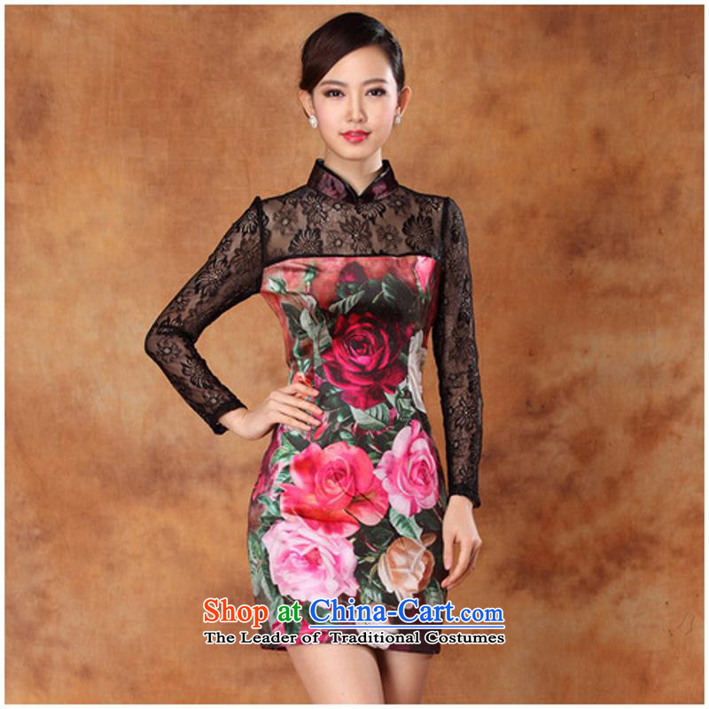 New autumn sexy lace scouring pads and the relatively short time stamp of long-sleeved cheongsam dress banquet figure燲XXL dress