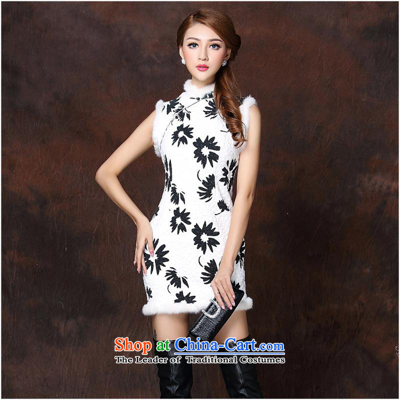 2015 Autumn and winter new women's stylish spell sleeveless folder unit gross open's short qipao?QF141011?picture color?M