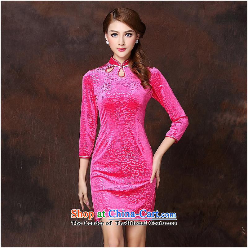 2015 Autumn and winter new women's Stylish retro in embossed cuff scouring pads聽in the short qipao QF141002 RED聽XL