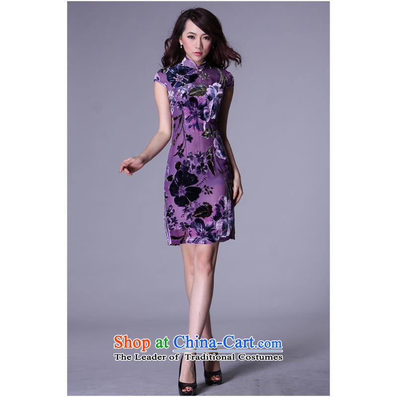 Hiv can also load the spring and summer of 2015, the new improved Stylish retro summer short of Chinese Silk Cheongsam bows herbs extract purple燬
