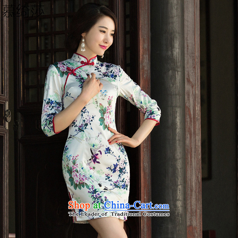 The cross-sa data code�2015 retro improvement in the autumn of qipao cheongsam dress long new president in cuff cheongsam dress�SZ3M012�picture color 2 S