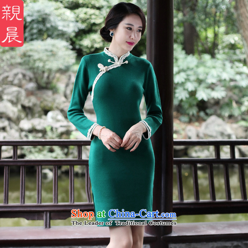 2015 Autumn and winter new daily retro cheongsam dress woolen knitted improved long-sleeved shirt short stylish, dresses female green?2XL