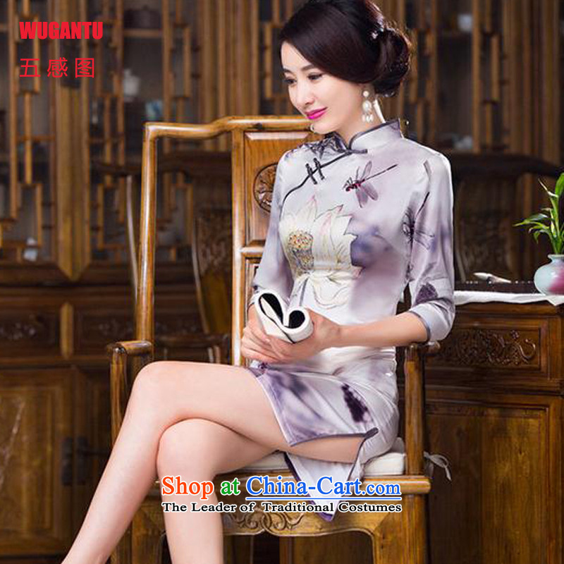 The five senses figure for?autumn and winter 2015 new upscale Silk Cheongsam cuff in stylish and elegant banquet dress dresses ink color pictures of the LOTUS?M
