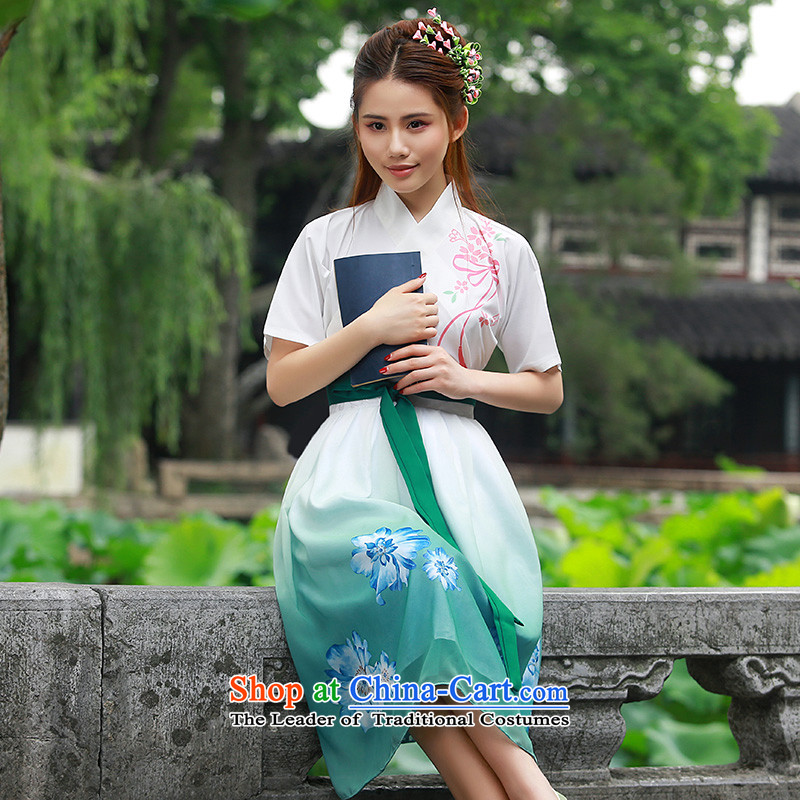 Time of daily new 2015 Syria traditional woman Han-improved body skirt spring, summer, autumn and Chinese ink painting Han elements recommended green skirts and T-Shirt