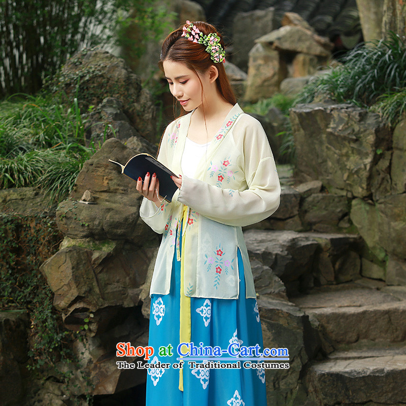 Fresh daily traditional woman arts Han-improved chest you can multi-select attributes by using the Cut leading craftsmen skirt costume improved Han-sub of the girl child performances also featured a lapel pins with blue uniforms miss fairies leading craft