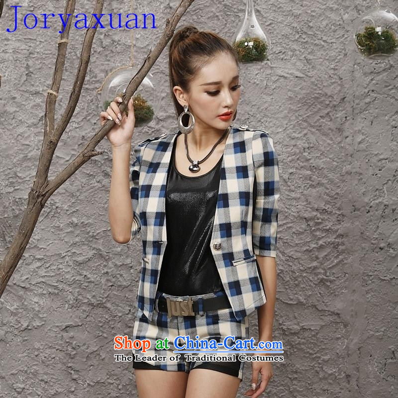 Deloitte Touche Tohmatsu sunny autumn 2015 a new shop in a small jacket female Korean Sau San video thin checked shorts stylish sets of picture color?S
