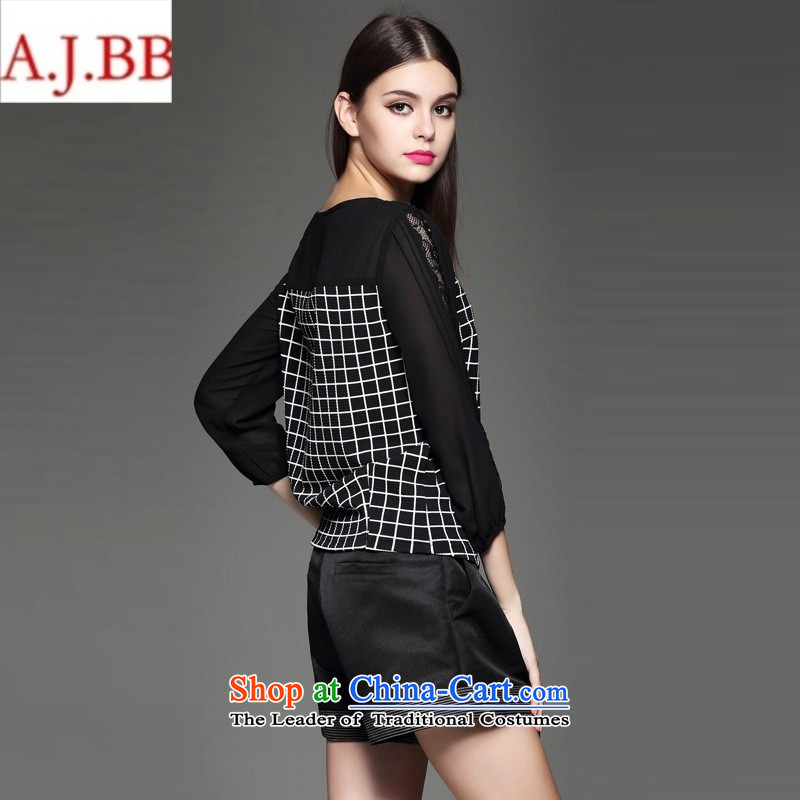 Orange Tysan * autumn load new women's personality lace stitching grid聽S,A.J.BB,,, black clothes shopping on the Internet