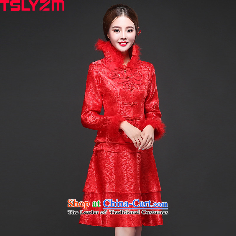 The bride cheongsam dress tslyzm wedding dress bows Service, 2015 New autumn and winter back door onto a long-sleeved Sau San Mao for Tang Women's clothes autumn red?XXL