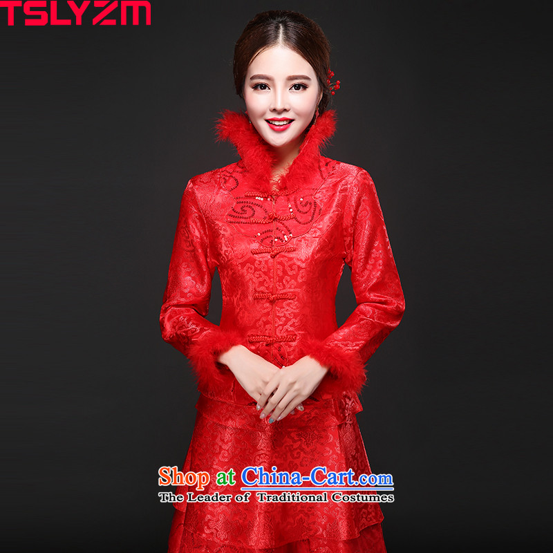 The bride cheongsam dress tslyzm wedding dress bows Service, 2015 New autumn and winter back door onto a long-sleeved Sau San Mao for Tang Women's clothes autumn red Xxl,tslyzm,,, shopping on the Internet