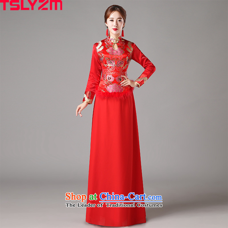 Tslyzm marriages cheongsam collar Chinese bows services 2015 autumn and winter new graphics thin long-sleeved red Sau San cheongsam dress RED�M