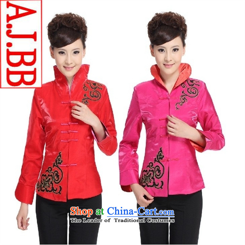 The Black Butterfly Hotel reception tea ARTS UNIFORM long-sleeved T-shirt Tang Chinese autumn and winter coats female Red (T-shirt) XXL