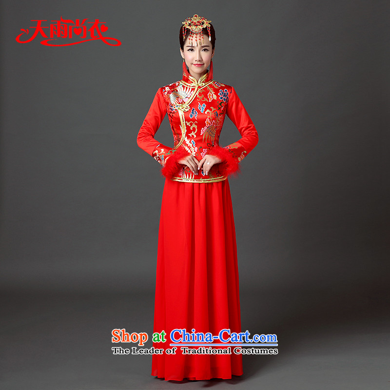 Rain-sang yi?2015 winter new dresses retro chinese red color long marriages cheongsam long-sleeved clothing QP562 bows red?XL