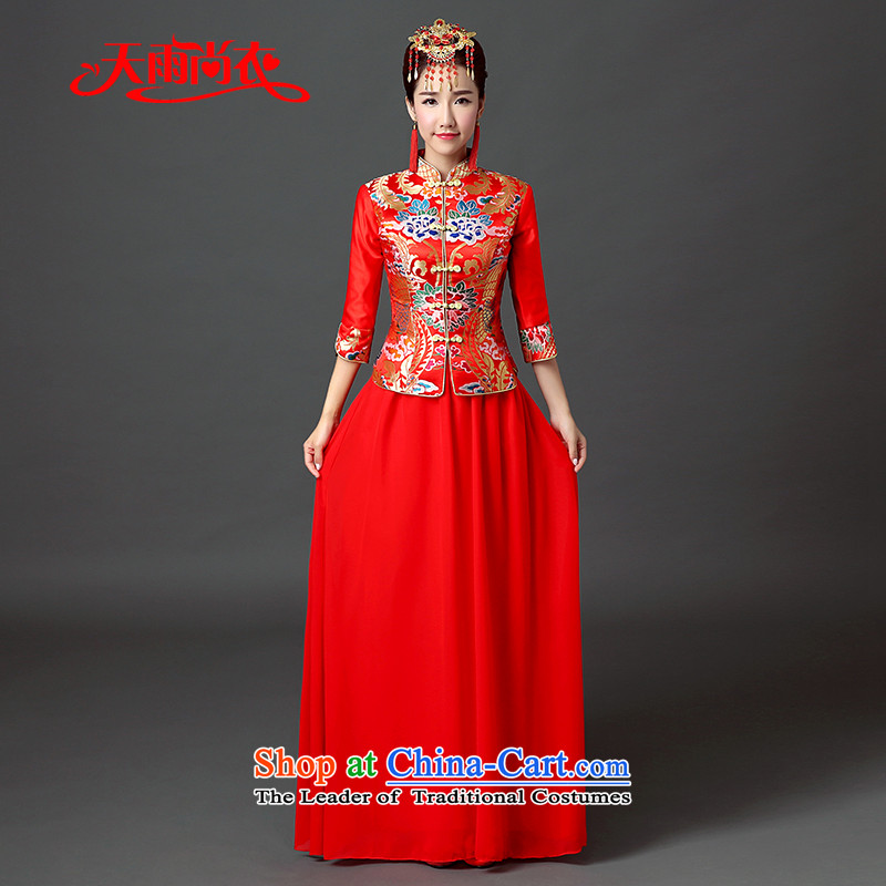 Rain-sang yi 2015 autumn and winter new wedding dresses long retro red Chinese qipao collar marriages bows services QP560 RED?S