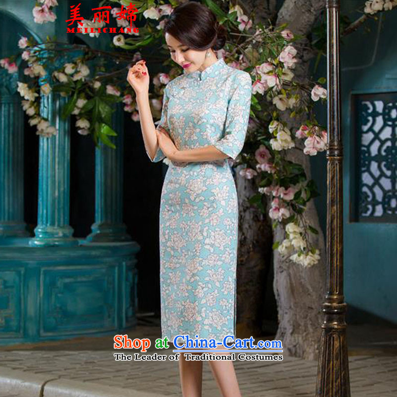 The beautiful autumn 2015-oriented Women's clothes retro graphics in Sau San thin cheongsam large cuff improved long cheongsam dress linen Tang dynasty JORIN?L