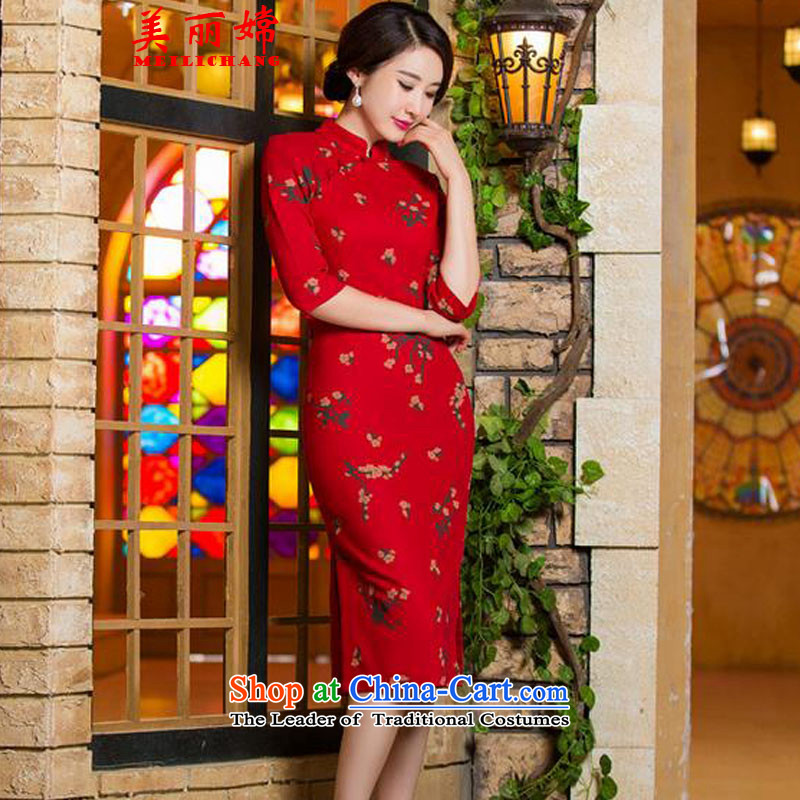 The beautiful new summer 2015-oriented retro graphics in Short Thin Sau San large cuff improved linen long skirt qipao Samui red?L