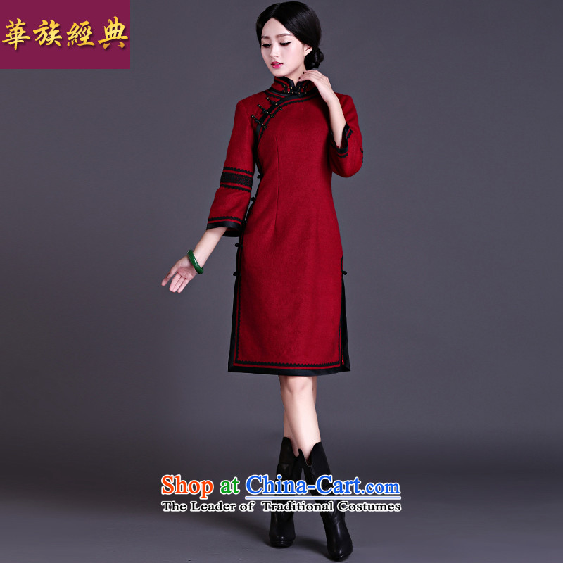 China Ethnic classic 2015 winter clothing qipao daily improved 7 cuff qipao skirt Ms. so gross daily maximum number of nostalgia for the deep red聽L