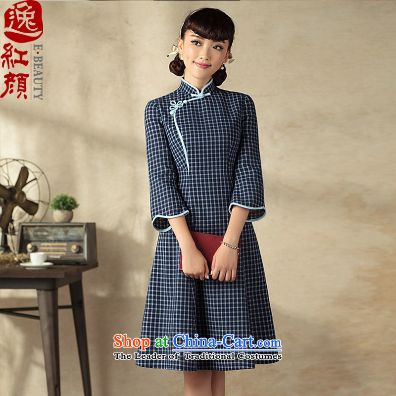 A Pinwheel Without Wind Yue Autumn Yat 7 cuff dresses autumn 2015 new product literature and art nouveau improved grid cheongsam dress navy燤