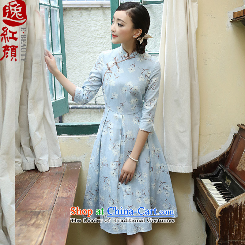 A Pinwheel Without Wind Yanwu in Yat Long Seven-sleeved dresses cotton linen stamp of ethnic qipao retro improved skirt blue-gray?XL