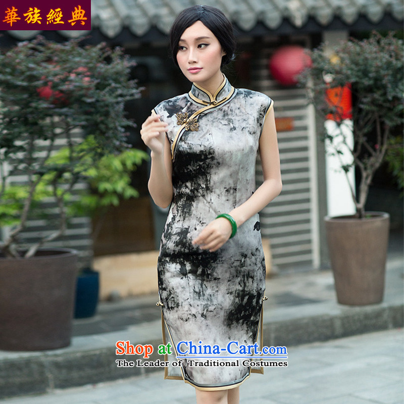 Chinese classic 2015 Autumn load ethnic Chinese silk the improvement of even the shoulder cheongsam dress suit?XXXL retro Ms. Sau San