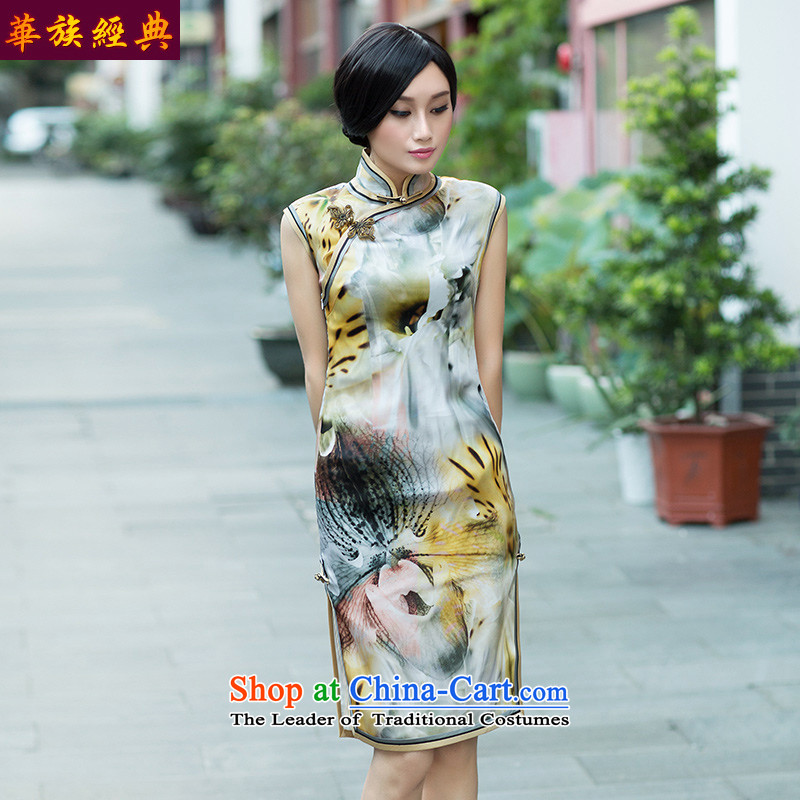 China Silk Euro-classic root yarn, stylish cheongsam dress decorated in video thin autumn improved classy Suit?M