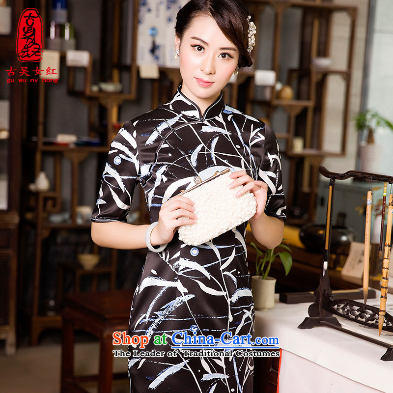 The Wu female red retro Silk Cheongsam 2015 autumn day to load skirt_high female cheongsam dress black 39705A L