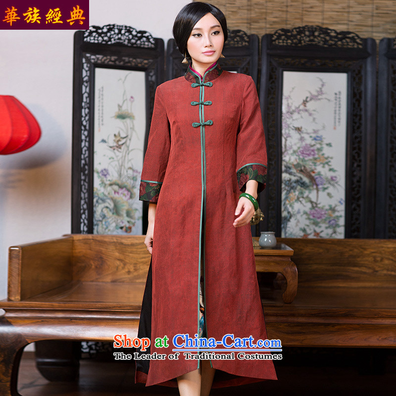 Chinese classic 2015 Autumn load-tang gown, with improved China wind cheongsam silk incense cloud yarn long jacket, suit聽XL