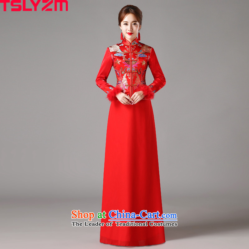 Marriages cheongsam dress tslyzm wedding services retro 2015 Chinese bows new autumn and winter long-sleeved autumn long_ Red聽S