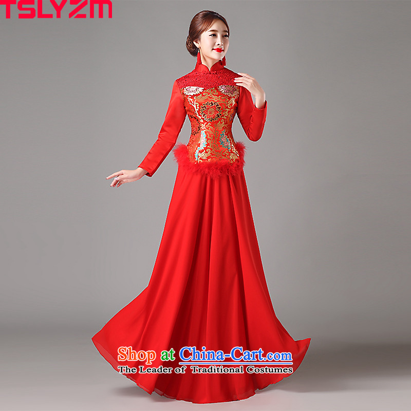 Improved cheongsam dress brides tslyzm wedding services classical Chinese marriage bows Sau Wo service long-sleeved lace collar 2015 new autumn and winter?XXXL red