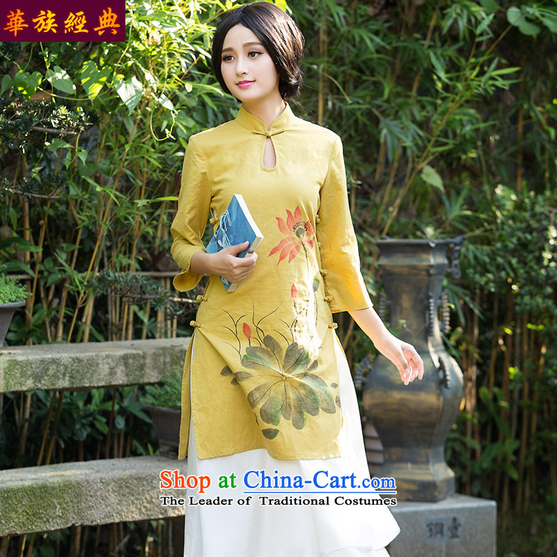 Chinese classic 2015 Autumn load side long-sleeved long cotton linen daily fashion improved cheongsam dress retro arts female suit?L