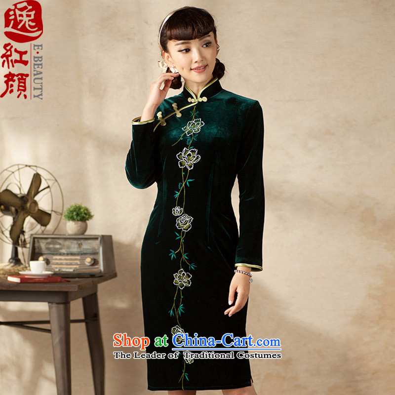A Pinwheel Without Wind Miriam Yeung Ying�2015 Yat new long-sleeved retro arts embroidery autumn day-to-day, scouring pads qipao improved skirt Doi green�L