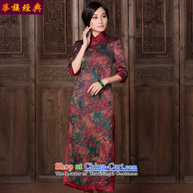 Chinese Classic autumn stylish improvements Serb daily silk yarn in the cloud of incense sleeve length of Qipao Chinese antique dresses suit - 15 days pre-sale�M