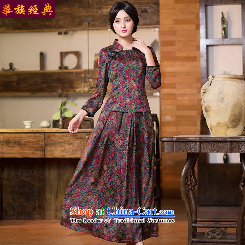 China Ethnic classic silk Heung-cloud Tang dynasty yarn Han-qipao T-shirt, Spring and Autumn Chinese Women's improved replacing kit shirt + skirts M