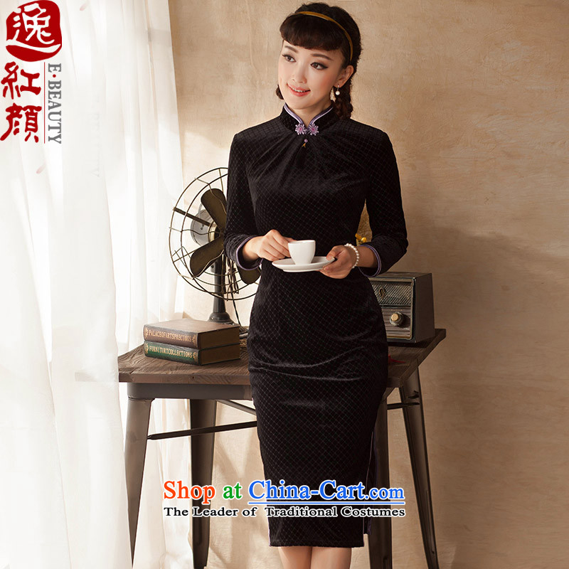 A Pinwheel Without Wind Nan requested?2015 Yat fall new products in the ordinary course of literary and art nouveau long long-sleeved latticed velvet cheongsam dress elegant color?L