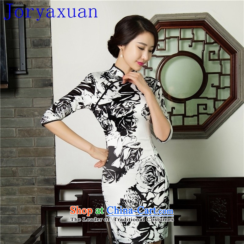 Deloitte Touche Tohmatsu fine shops Tang dream new cheongsam dress retro Sau San autumn and winter, Silk Cheongsam Tang dynasty�11019( flag) L Dual Layer