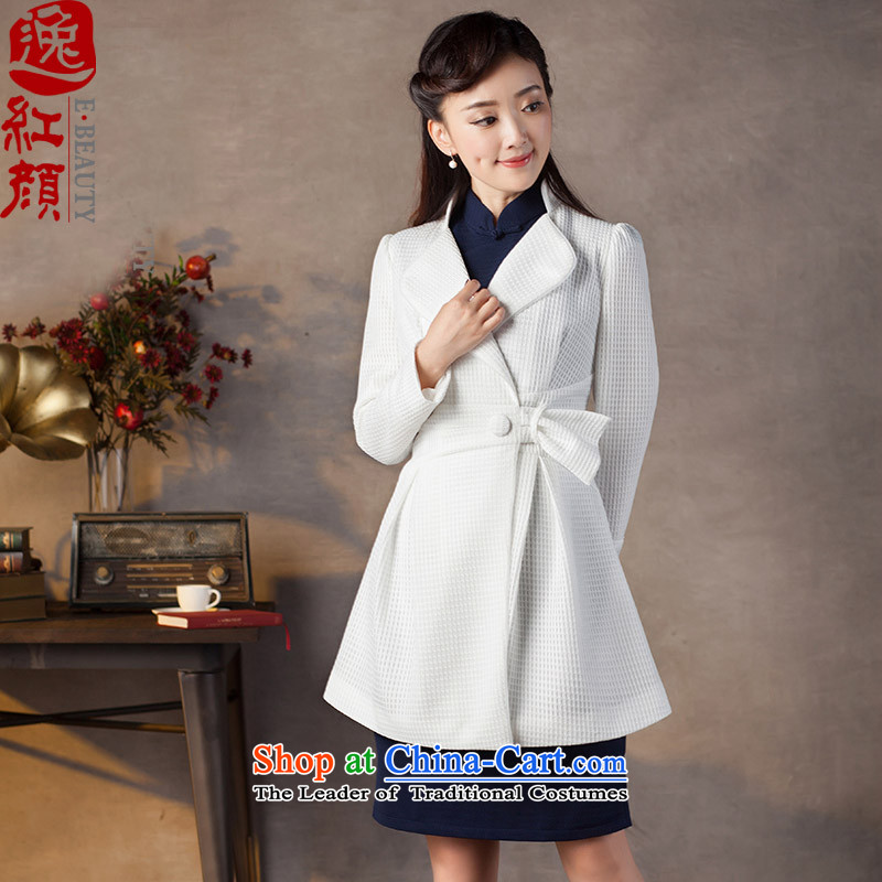 A Pinwheel Without Wind Yat Jade?2015 new products in the retro waist ethnic improved long long-sleeved Ms. Qiu jackets fine white?M