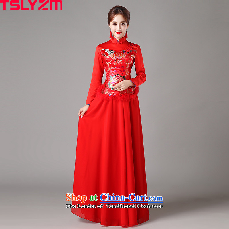 Toasting champagne bride services tslyzm Qipao Length of 2015 New improved autumn and winter embroidery red back to the door to the skirt dress red燬