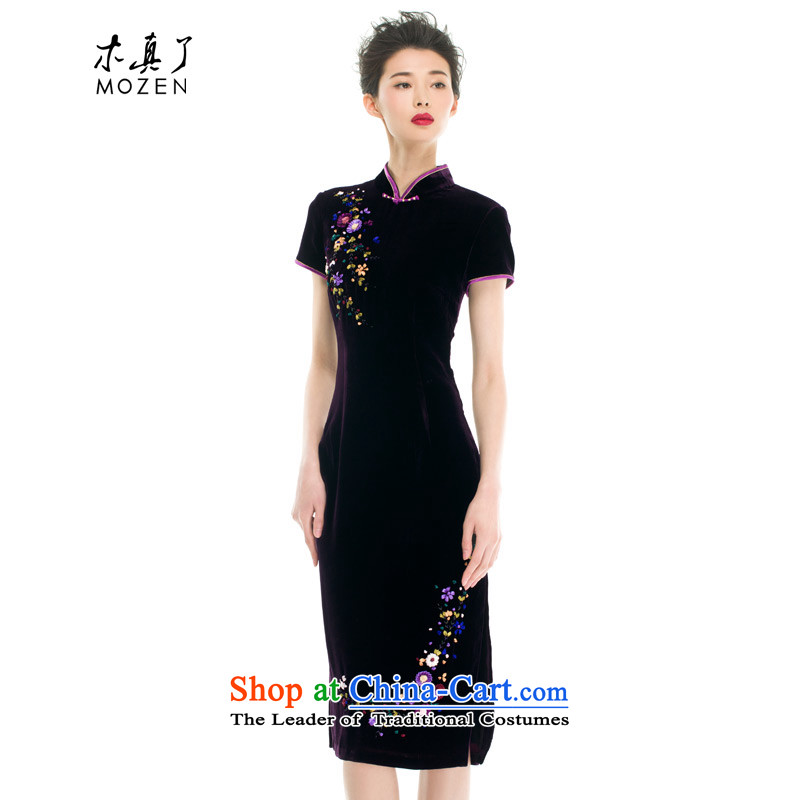 Wood, an improved qipao mother really fall inside the new 2015 dress retro national wind long cheongsam dress 43209 16 deep purple�Xxl(c)