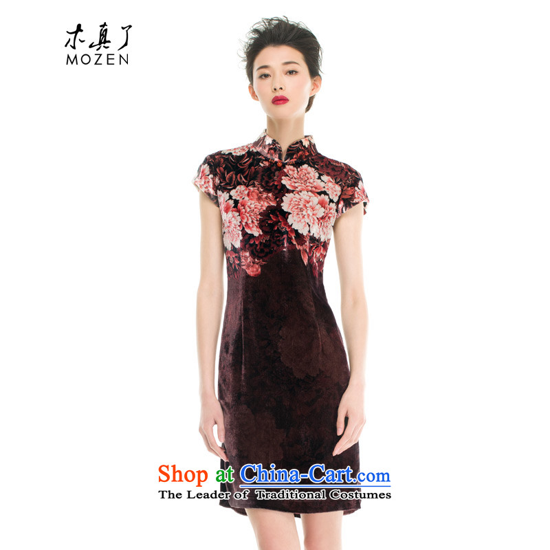 Wood, an improved retro qipao really fall inside the new skirt velvet video thin qipao short of Sau San half sleeve female 11630 08 coffee-colored燣