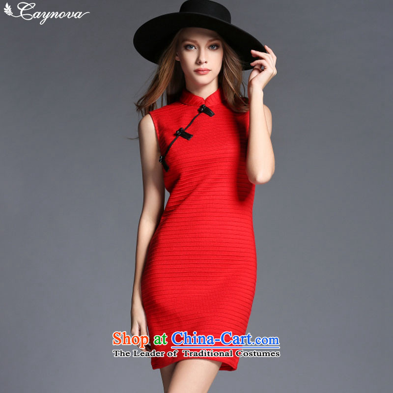 Load New caynova2015 autumn retro hand-tang detained women cheongsam dress red�S