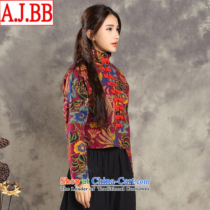 The Black Butterfly autumn and winter new ethnic women cotton linen yarn-dyed jacquard tray snap Chinese Antique Tang Jacket coat of female red XL
