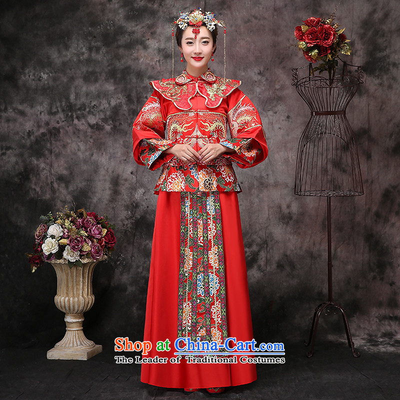 2015 New Sau Wo serving Chinese style wedding dresses-soo drink service bridal kimono gets married Yi Feng use red autumn S